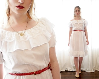 Vintage 1980s 1970s ruffle off shoulder white lace Mexican prairie square dancing style dress 80s 70s