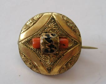 Victorian Branch Coral Gold-Filled Round Brooch/Pin