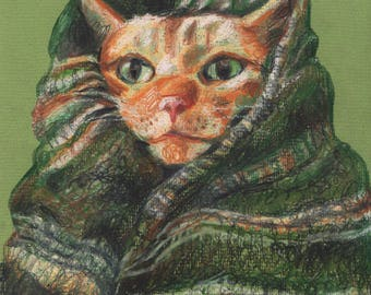 A cat in the winter - ORIGINAL ILLUSTRATION / cats drawing pink and red  / Colored pencil drawings / lady cat art