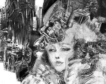 Irene Adler, Sherlock Holmes, steam punk, alternative, print