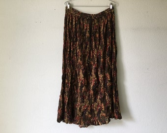 Vintage Skirt - Drawstring Crinkle Pleats Long Maxi Cotton Broomstick Hippie Gypsy Boho Indian Festival
