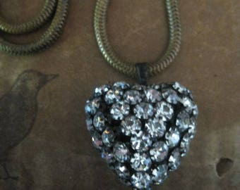 rhinestone Heart ~ snake chain baroque pearl locket necklace