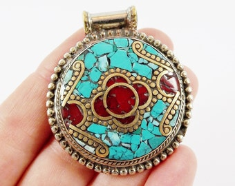 Round Ethnic Turquoise Coral Tribal Pendant - Afghan Handmade