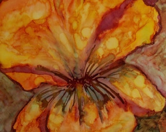 original art  painting alcohol ink golden iris design abstract 20x26