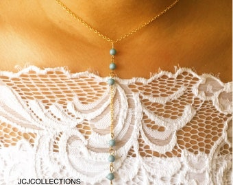 Turquoise Bead Lariat Necklace