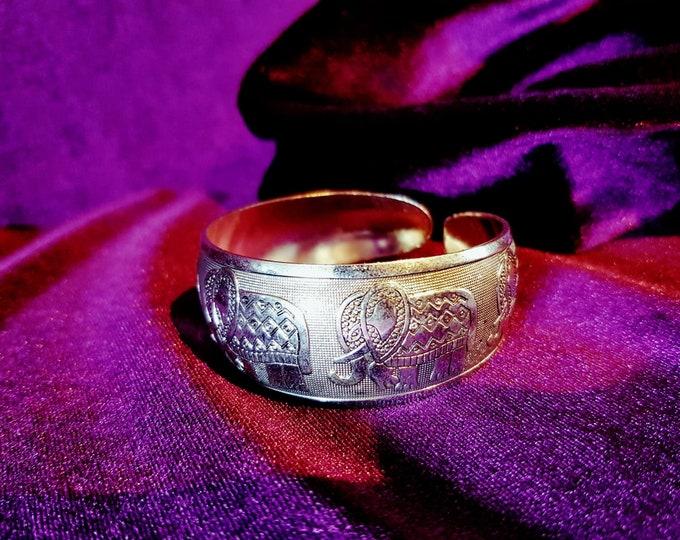 Elephant Bracelet - hindu ganesha occult gothic silver colour bracelet