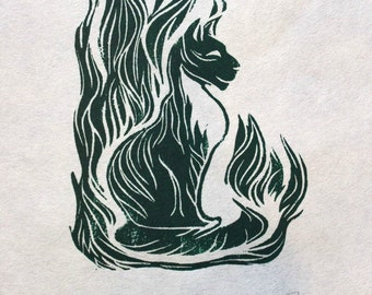 Cat in the Grass, original hand-pulled linocut relief print on Thai Kozo paper