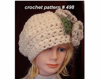 crochet pattern, hat,  - womens - accessories, chunky beret and flowers, size newborn to adult, num 498, women hats