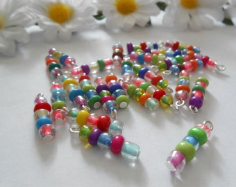 5Bead Opaque/Transparent Glass Dangle Beads