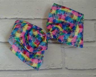 """Girls large 8"""" inch bright rainbow pineapple boutique hair bow with alligator clip like JoJo siwa bows signature keeper dance moms"""
