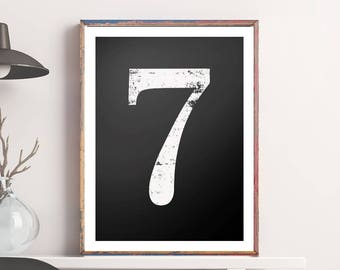 "Number Seven ""7"" Printable Poster - Vintage Number Art Wall Decor Numerical Typography No 7 Wall Art Digital Print *INSTANT DOWNLOAD*"
