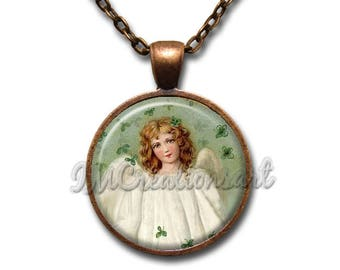 St. Patrick's Day Angel Glass Dome Pendant or with Chain Link Necklace