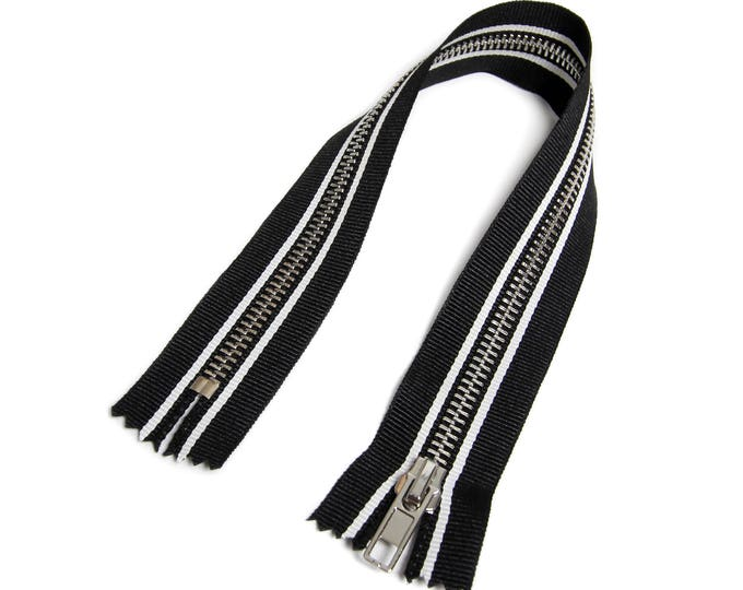 Zipper closed end for Biker coveralls black/white