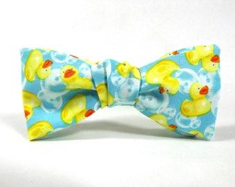 Rubber ducky bowtie, duck bowtie, bath bowtie, bathroom bowtie, bubble bowtie, blue yellow bowtie, toy bowtie