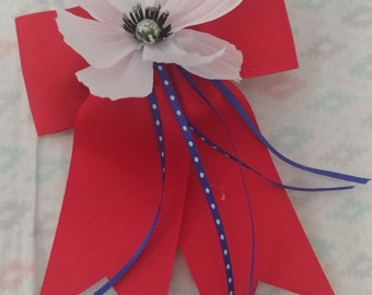 Red,White and Blue ribbon barrette