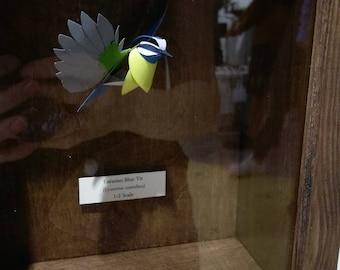 Cyanistes Caeruleus. Paper-cut Blue Tit Sculpture. 1:2 Scale. 2017