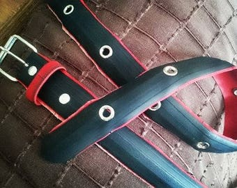 Black and red belt made from a recycled bike tire, with eyelets - 3,2cm wide