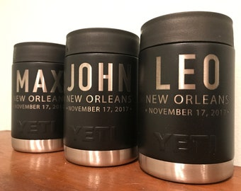 Set of (4) Custom Engraved Yeti Colster - 10 oz.;Groomsman Gift; Bachelor Party Gifts; Bridal Party Colster; Best Man Gift