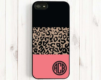 Leopard Monogram Personalized iPhone 7 6/ 6 Plus/4s/5/5c/5s Case, Leopard Pattern Samsung Galaxy s5 s4 s3, Note 3 Case AM62