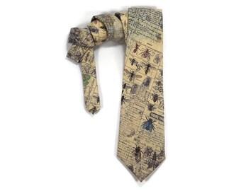 Entomology tie, Science tie, bug necktie, eclectic, biology necktie, natural science, insect tie, specimen drawings, encyclopedia catolog
