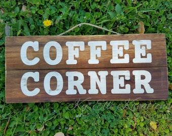 Coffee Corner sign, coffee sign, coffee bar sign, coffee bar decor, coffee corner, kitchen decor, kitchen sign, coffee bar, wood sign,coffee
