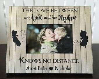 The love between an aunt and her nephew knows no distance // Long distance states aunt picture frame // aunt nephew long distance gift