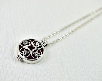 Aromatherapy Diffuser Essential Oils Necklace, Lava Diffuser Necklace Jewellery, Silver Round Celtic Necklace, Oil Diffuser Pendant Necklace