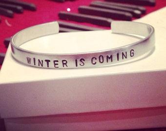 Winter is Coming aluminum bangle bracelet