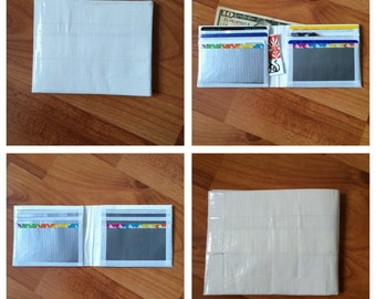 White, Silver, and Rainbow Duct Tape Wallet