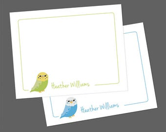 Personalized Note Cards, Budgie Note Cards, Personalized Thank You Cards, Bird Notecards, Teacher Gift, Flat Note Cards, Budgies, Parakeets