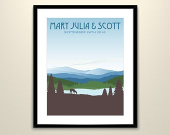 Blue Appalachian Rolling Hills 11x14 Poster// Wedding Landscape Vintage Travel Poster - Personalize with Names and date (frame not included)