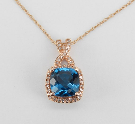 "Diamond and Cushion Cut London Blue Topaz Halo Pendant Necklace Rose Gold 18"" Chain"
