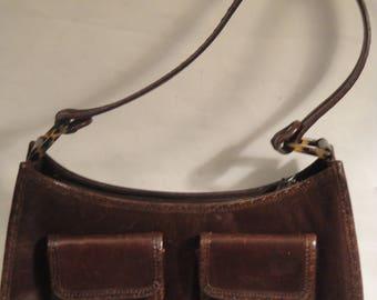 Cole Haan Fudge Brown Leather Hobo Purse Handbag.