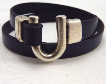 Kit Navy leather bracelet 10mm Horseshoe clasp silver