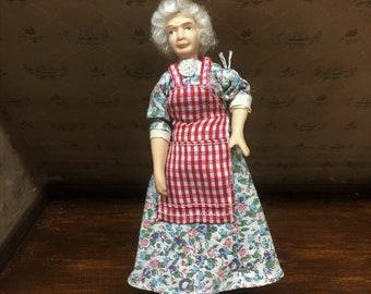 Miniature Porcelain Grandma Dollhouse Doll
