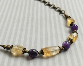 Beauty Gift Faceted Citrine and Amethyst Gemstones on an Antiqued Gold-Plated Brass Chain Choker Necklace