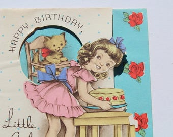 Vintage Cute Girl in Pink Dress with Kitten Birthday Card, 1940s 40s USED Cat Card for Scrap Booking