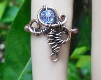 Gypsy ring, wire ring, size 3.5 ring, boho rings, bohemian rings, wire wrapped ring, boho jewelry, wire wrapped jewelry, gypsy jewelry