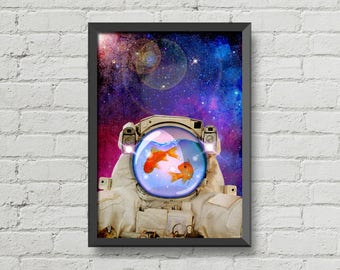 Space fishes,Poster,Digital print,art,artwork,fish,space,galaxy,home decor,geek,Astronaut,stars,Original