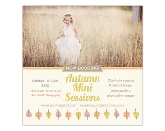 Fall Photography Mini Session Marketing Board Template - INSTANT DOWNLOAD
