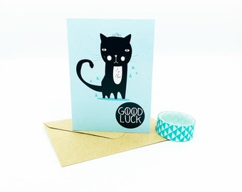 Good Luck Black Cat Card - Cat Illustration - Cat Card - Goodluck - Black Cat