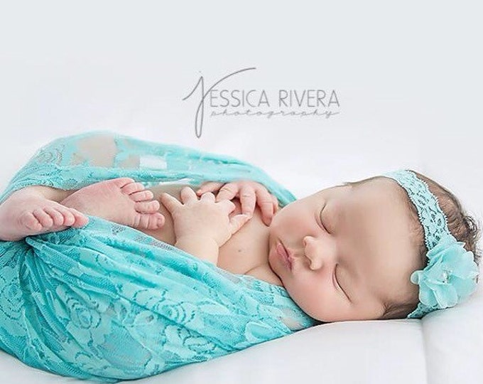 Aqua stretch lace swaddle wrap and/or matching mini aqua flower headband for newborn photo shoots, stretch lace by Lil Miss Sweet Pea