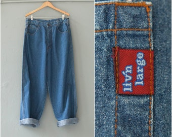 Vintage 90s Boyfriend Jeans High Waisted Jeans 33 Tapered Leg Baggy Jeans Mens Large Wide Leg Denim Pants Womens Large High Waist 33 Jeans L