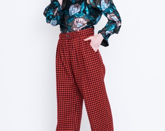 VINTAGE Red Checked High Waist Retro Trousers
