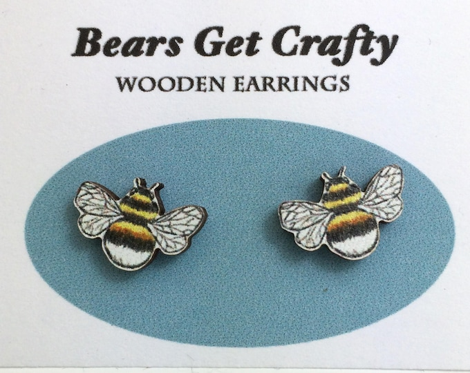 Featured listing image: Wooden Bumble Bee Earrings