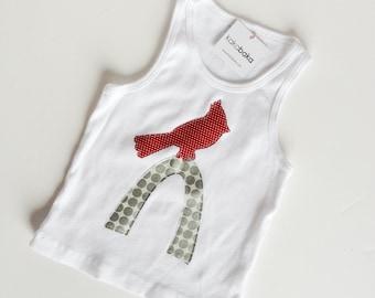 Cardinal Bird St. Louis Arch Tank Top for Girls, Infant, Toddler, White Tank Top