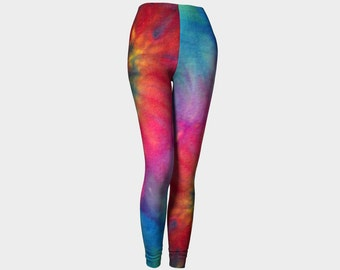 Tie Dye Leggings-Women's Leggings-Capri Leggings-Yoga Pants-Colorful Green Purple Pink Blue Leggings-xs, s, m, l, xl