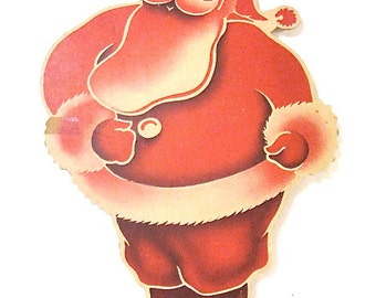 Vintage Santa Claus Wall or Window Hanging Decoration c1940