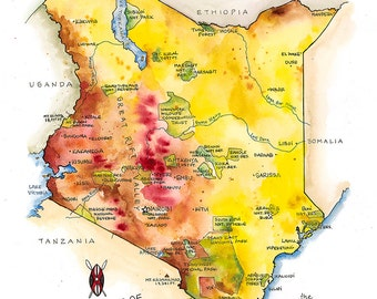 kenya map watercolor illustration african map art nairobi mombasa kenya watercolor map safari maasai flag kenya poster
