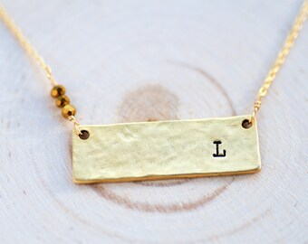 Bar Necklace, Gold Bar Necklace, Personalized Jewelry,Personalized Necklace,Bar,Personalized Womens, Initial Necklace,Personalized Gift